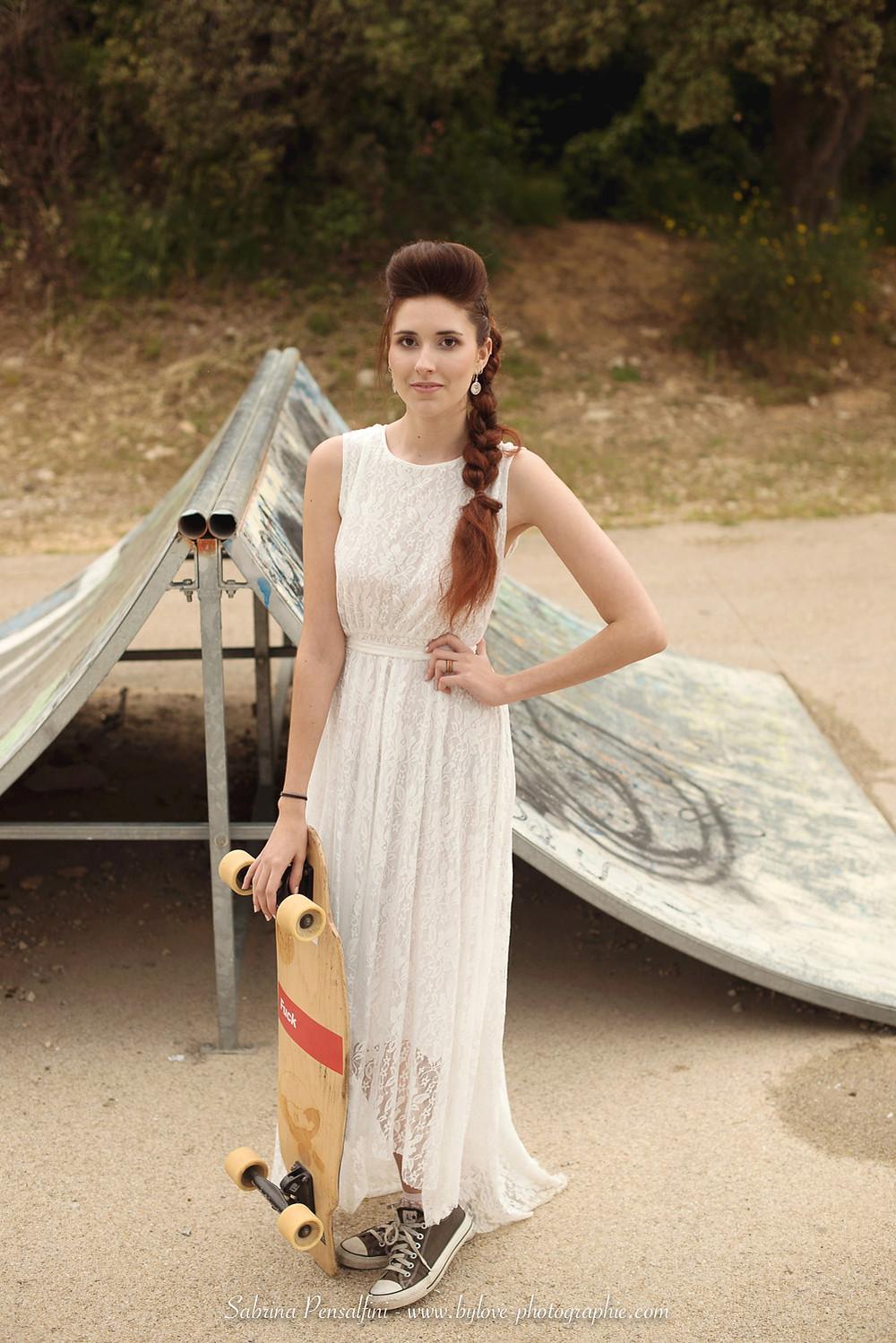 la mariée au skateboard
