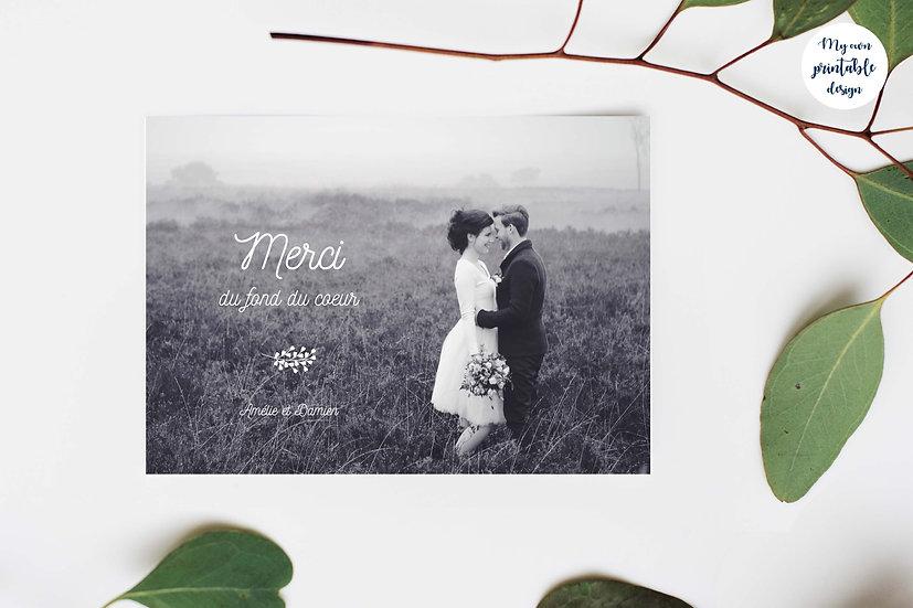 Carte de remerciement photo - Collection éternité - Fichier numérique