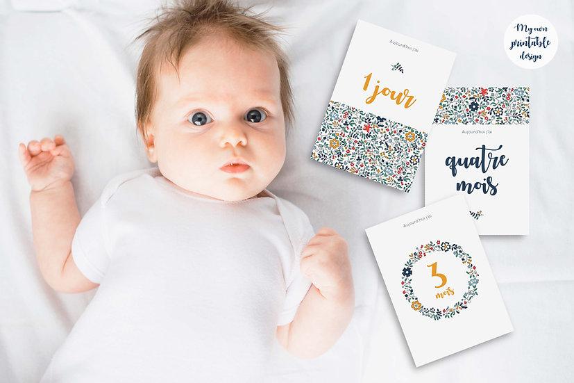 17 cartes étapes bébé 1ère année - Collection Liberty jaune - Fichier numérique
