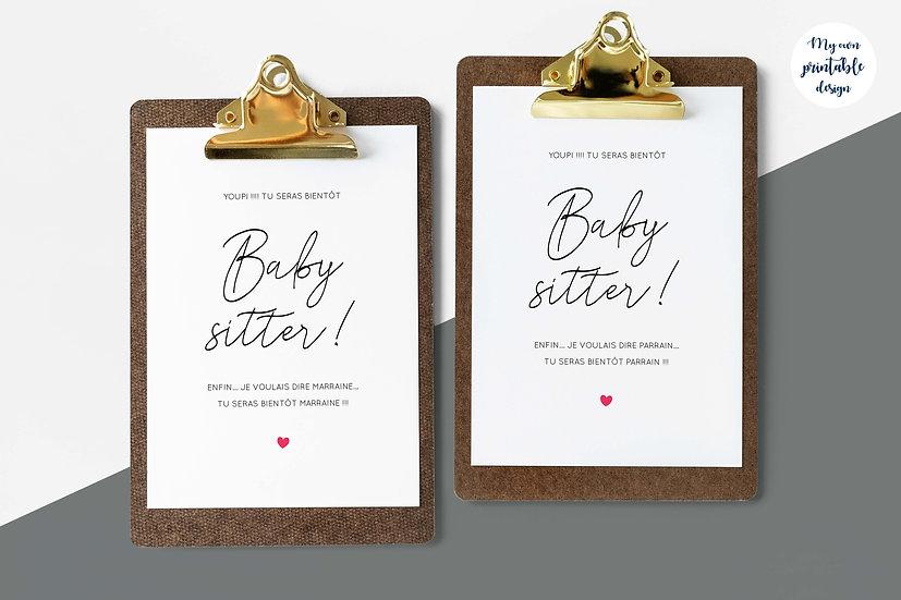 Duo cartes parrain marraine - Collection baby sitter - Fichier numérique
