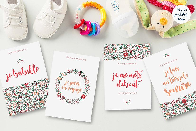 24 cartes premières fois bébé - Collection Liberty rose - Fichier numérique