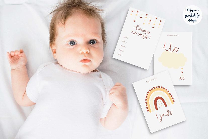 Cartes étapes bébé - Collection Nuage terracotta - Fichier numérique