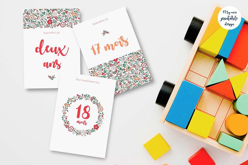 18 cartes étapes bébé 2ème année - Collection Liberty rose - Fichier numérique