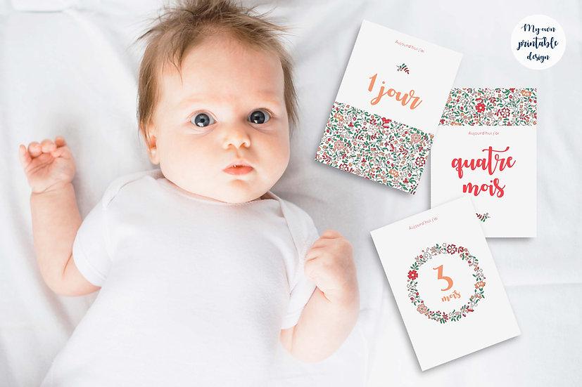 17 cartes étapes bébé 1ère année - Collection Liberty rose - Fichier numérique