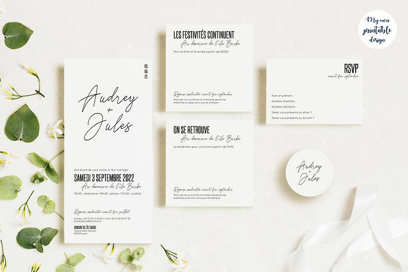 Pack faire-part de mariage - Collection modernité - Fichier numérique