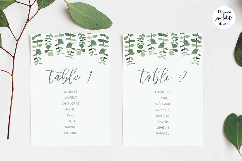 Plan de table - Collection eucalyptus - Fichier numérique