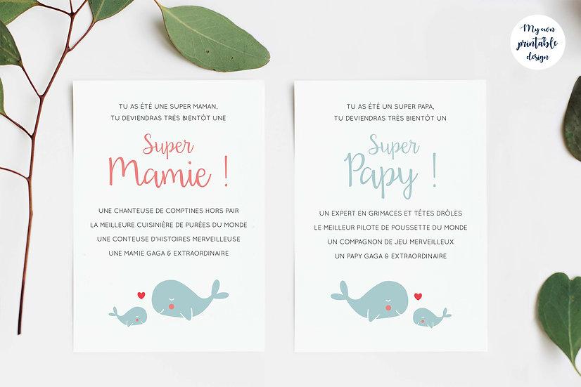 Duo cartes papy et mamie - Collection baleine - Fichier numérique