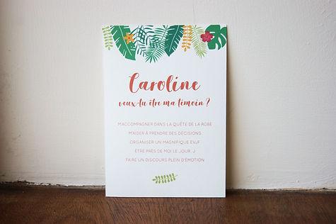 carte dedemade en témoin à imprimer thème tropical, My own pritable design