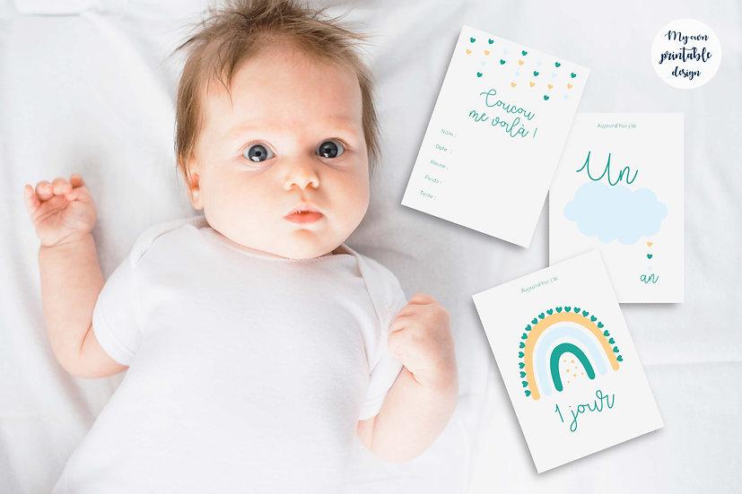 17 cartes étapes bébé - Collection Nuage vert - Fichier numérique