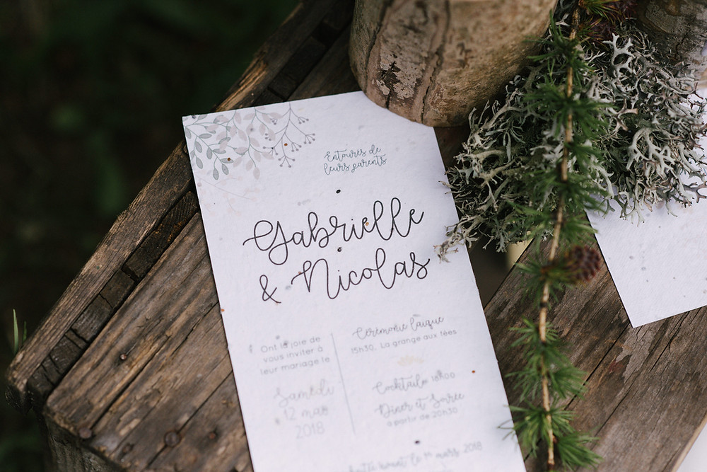faire-part mariage imprimé sur du papier ensemencé, collection Printemps de My own printable design