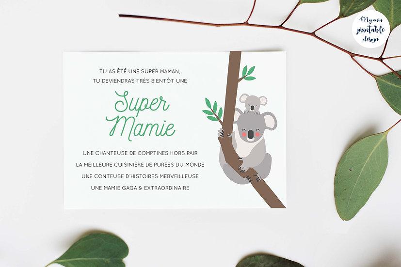 Carte annonce grossesse mamie - Collection koala - Fichier numérique