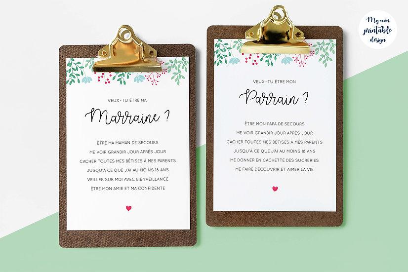 Duo cartes parrain et marraine - Collection printemps - Fichier numérique