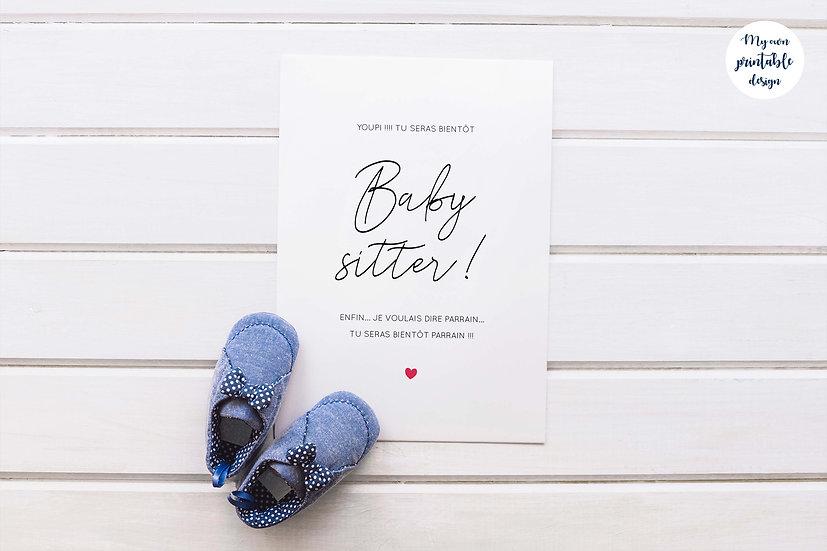 Carte annonce parrain - Collection baby sitter - Fichier numérique