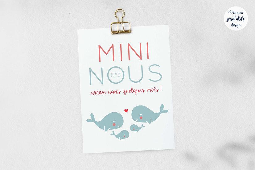 Carte annonce 2ème grossesse mini nous - Collection baleine - Fichier numérique