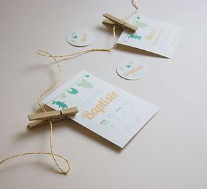 Papeterie naissance à imprimer collection pince à linge : faire-part, étiquette, carte de remerciement