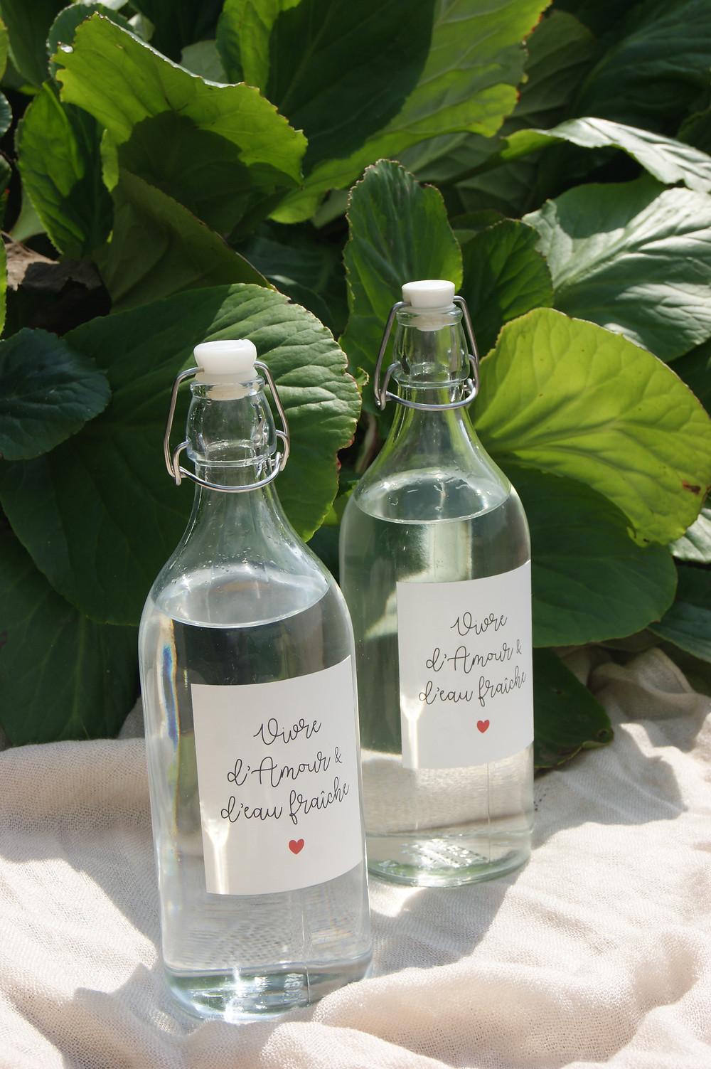 bouteille d'eau en verre avec étiquette à télécharger et imprimer gratuitement