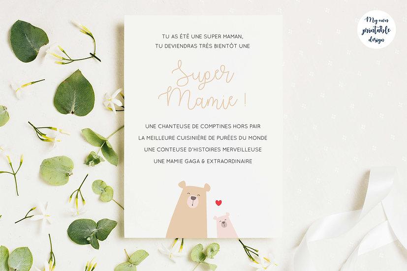 Carte annonce grossesse mamie - Collection petit ours - Fichier numérique