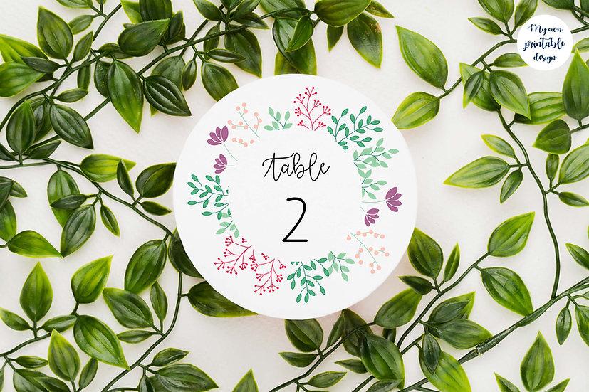 Numéros de table - Collection printemps - Fichier numérique