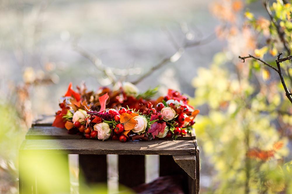 couronne de fleur pour un mariage d'automne écolo