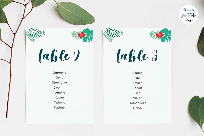 Plan de table - Collection exotisme - Fichier numérique