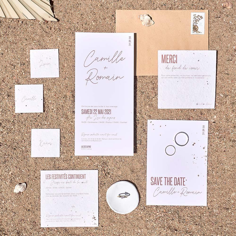 Faire-part mariage écologique et minimaliste