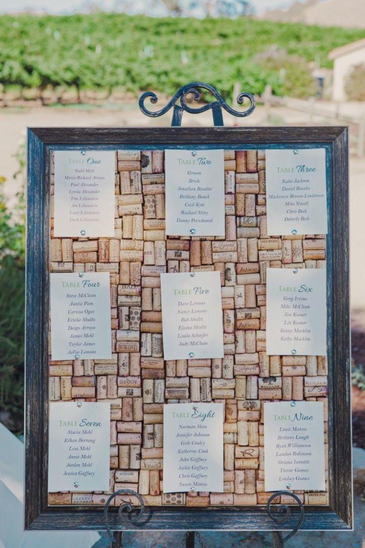 plan de table en liège, mariage sur le thème du vin