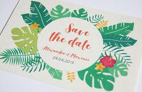 Save the date tropical à imprimer soi-même, collection exotisme de My own printable design