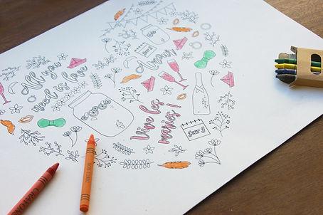set de table à colorier pour les enfants à un mariage, PDF à imprimer soi-même, collection guinguette My own printable design
