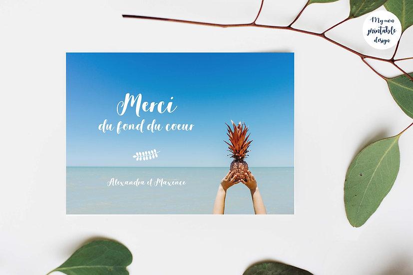 Carte de remerciement photo - Collection exotisme - Fichier numérique