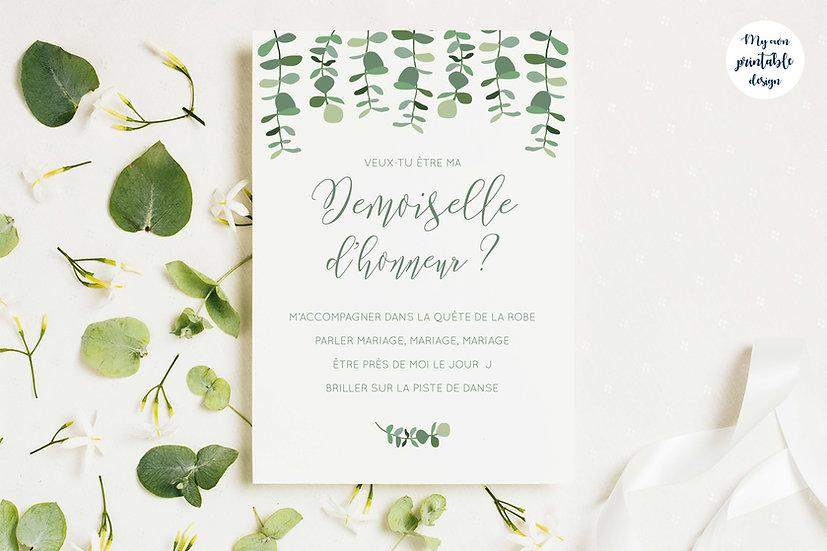 Carte demoiselle d'honneur - Collection eucalyptus - Fichier numérique