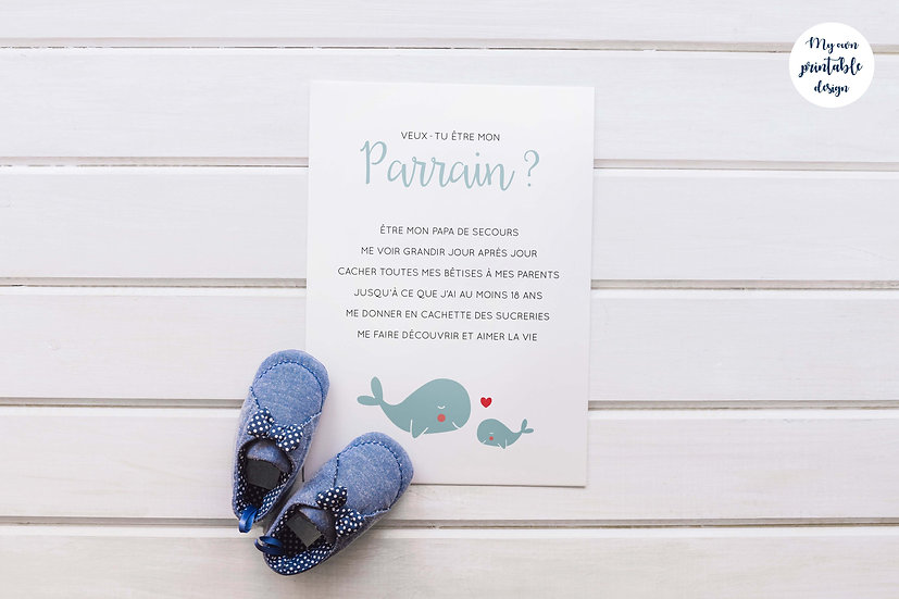 Carte parrain - Collection baleine - Fichier numérique