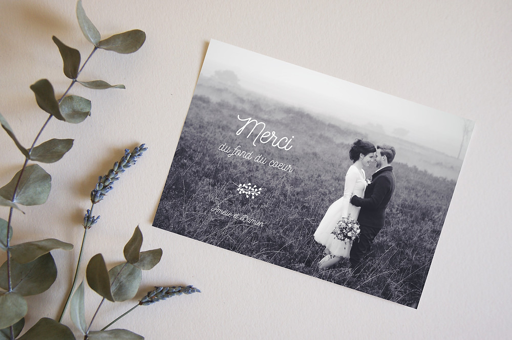 Carte de remerciement mariage à imprimer ou envoyer par email