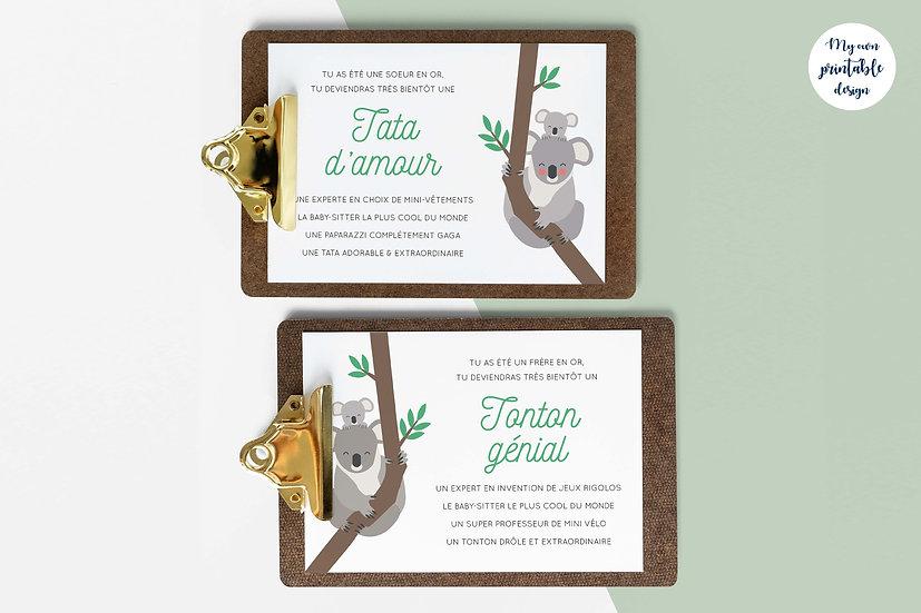 Duo cartes tata et tonton - Collection koala - Fichier numérique