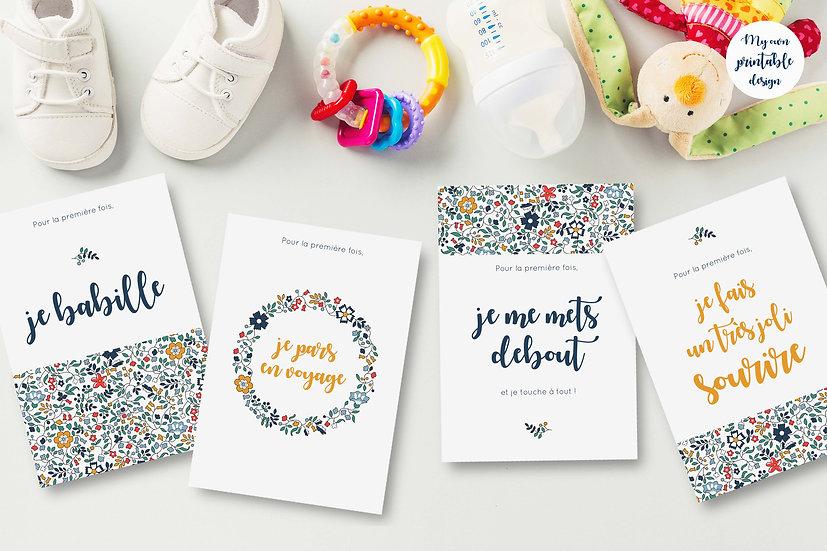 24 cartes premières fois bébé - Collection Liberty jaune - Fichier numérique