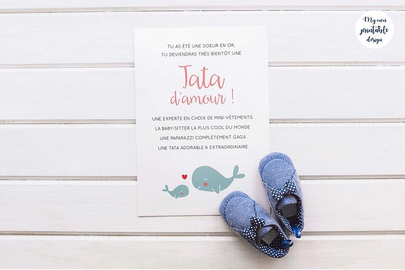 Carte annonce grossesse tata - Collection baleine - Fichier numérique