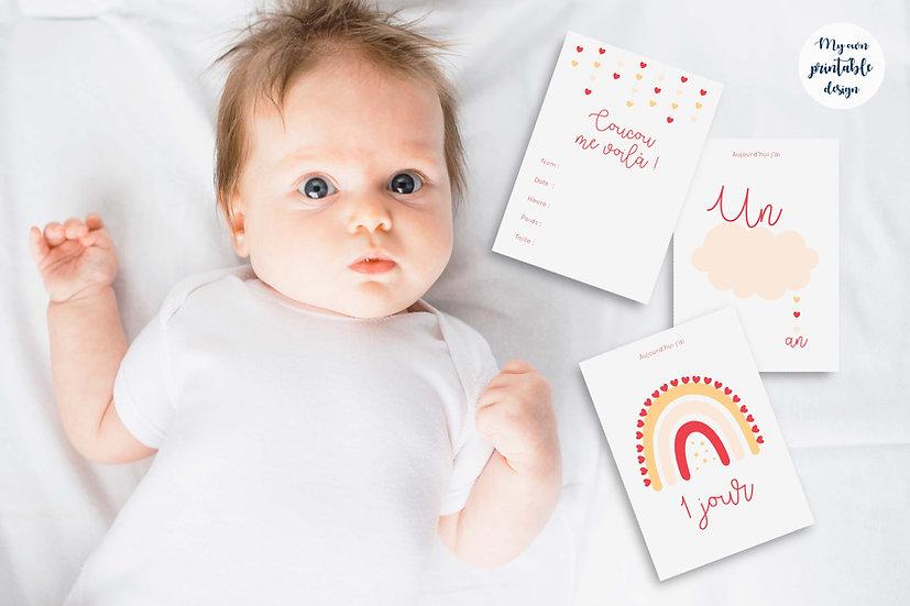 17 cartes étapes bébé - Collection Nuage rose - Fichier numérique