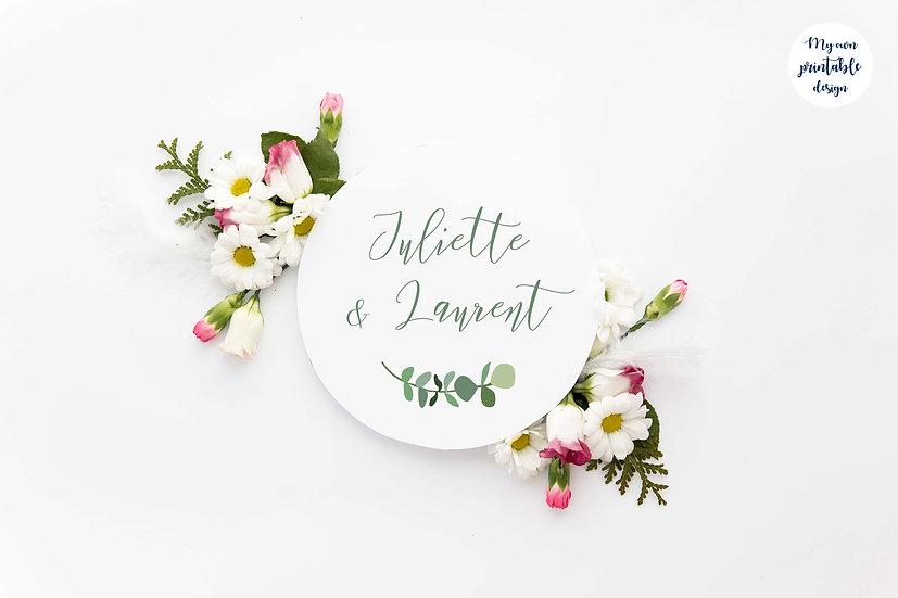 Logo et étiquette mariage - Collection eucalyptus - Fichier numérique