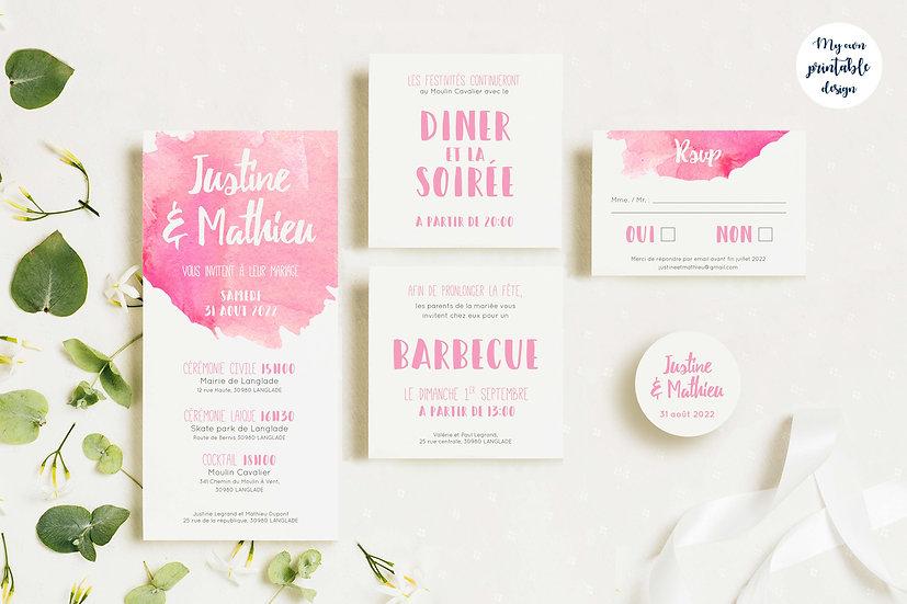 Pack faire-part de mariage - Collection pop love - Fichier numérique