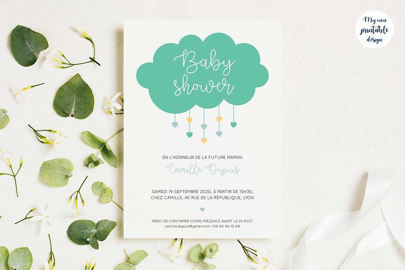 Invitation baby shower - Collection Nuage - Fichier numérique