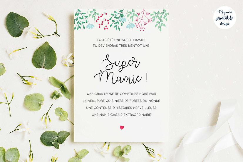 Carte annonce grossesse mamie - Collection printemps - Fichier numérique