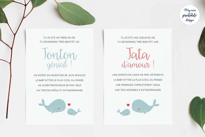 Duo cartes tata et tonton - Collection baleine - Fichier numérique