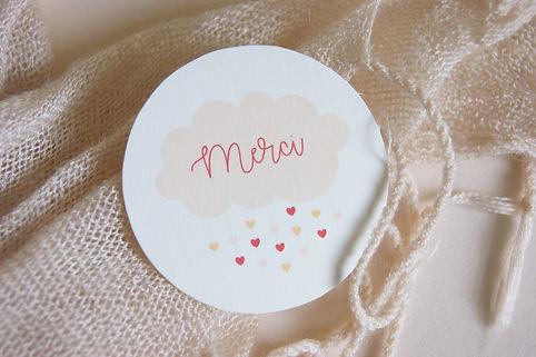 étiquette merci à imprimer, nuage rose naissance, My own pritable design
