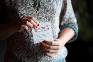 Carte de remerciement, collection Éternité imprimé sur du papier ensemencé pour un mariage écolo.