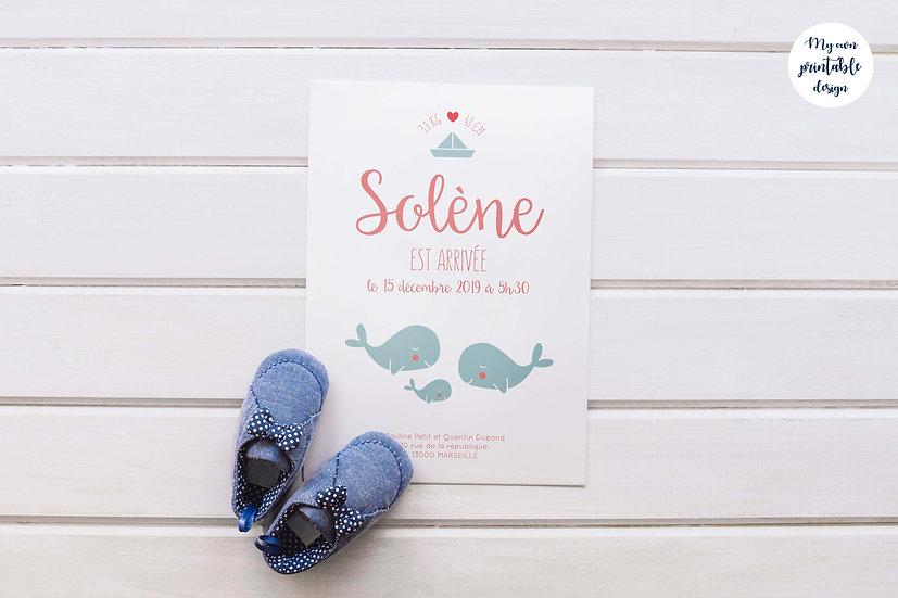 Faire-part de naissance - Collection Baleine - Fichier numérique