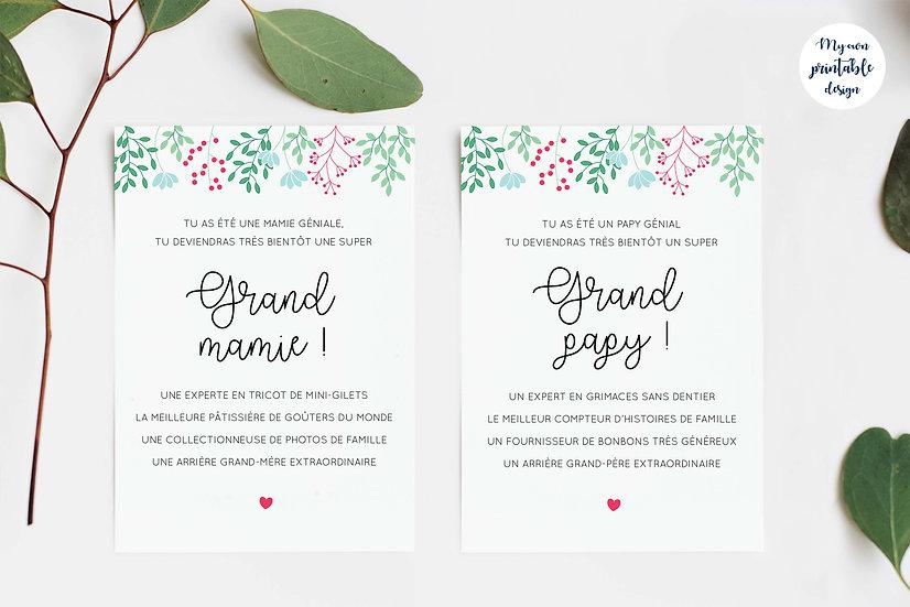 Duo cartes arrières grands parents - Collection printemps - Fichier numérique