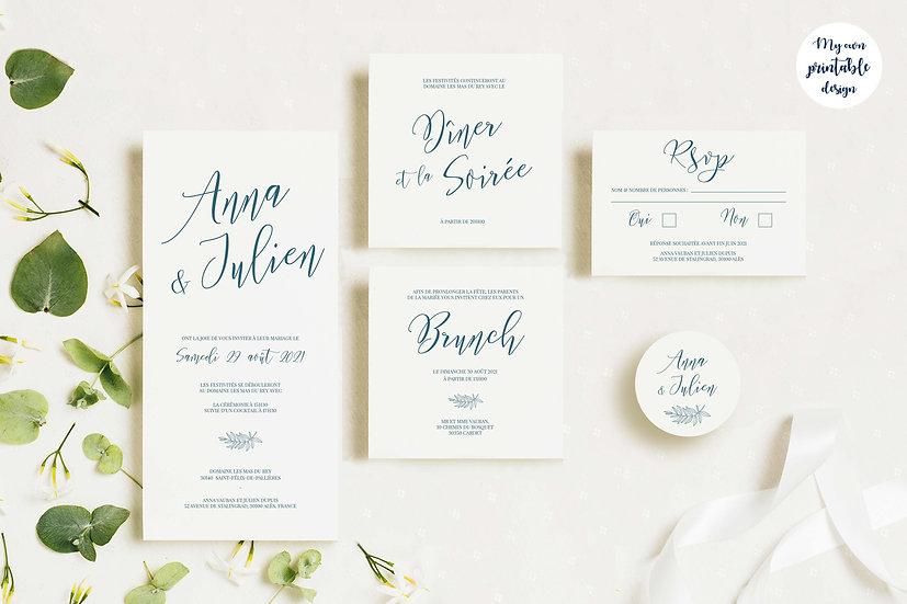 Pack faire-part de mariage - Collection délicatesse - Fichier numérique