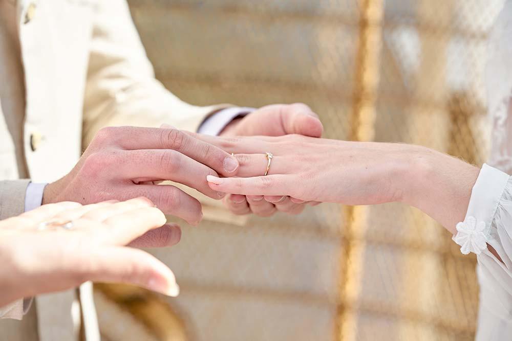 Echange des alliances mariage bohème
