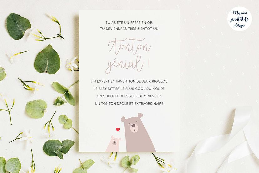 Carte annonce grossesse tonton - Collection petit ours - Fichier numérique