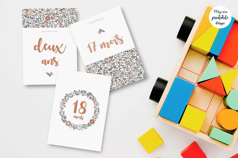 18 cartes étapes bébé 2ème année - Collection Liberty beige - Fichier numérique