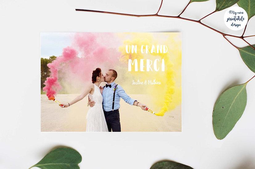 Carte de remerciement photo - Collection pop love - Fichier numérique